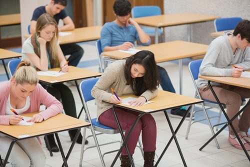Young people taking exams