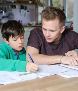tutoring young boy